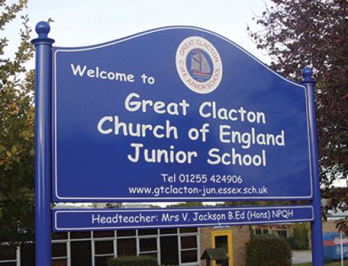 Premium Post Mounted Sign – Great Clacton School