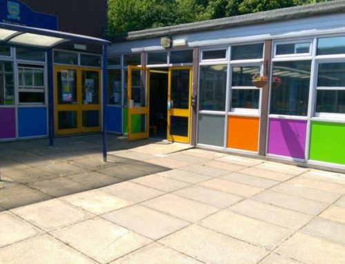 Bespoke coloured panels for school