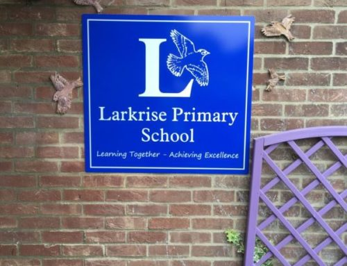 Larkrise wall mounted school sign