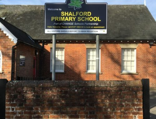Shalford post mouted school sign